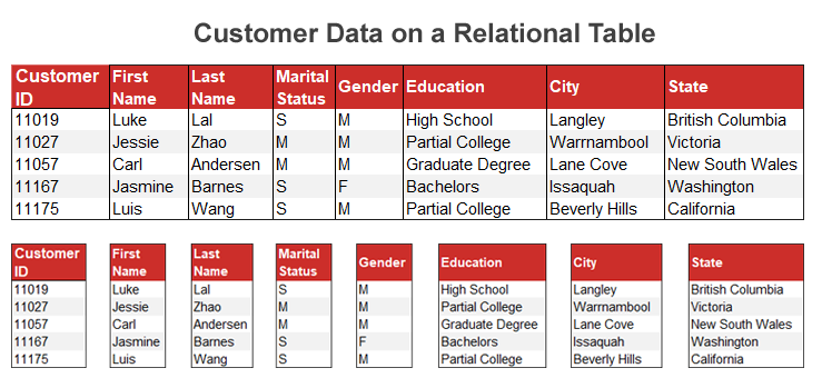 Customer Data Table